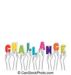 słowo, wyzwanie, chorągiew, projektować