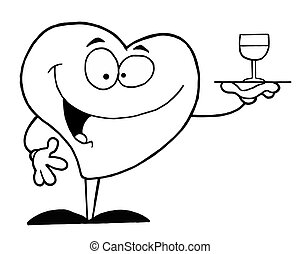 służąc, serce, wino, szkic