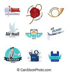 służba, doręczenie, poczta, projektować, poczta, pocztowy, ikona