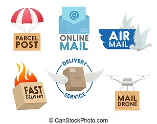 służba, ikony, poczta, wektor, poczta