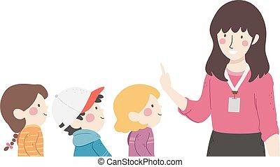 słuchać, dzieciaki, nauka, ilustracja, nauczyciel