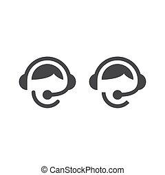 słuchawki, środek, rozmowa telefoniczna, operator