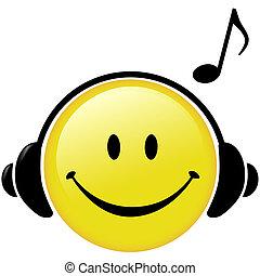 słuchawki, nuta, muzyczny, szczęśliwy, muzyka
