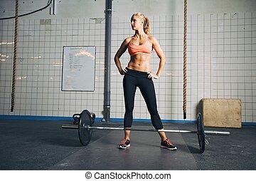 sala gimnastyczna, sztanga, silny, crossfit, samica