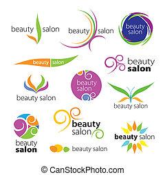 salony, logos, wektor, zbiór, piękno