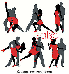 salsa, sylwetka, tancerze, komplet