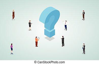 samica, drużyna, samiec, praca, rozłączenia, problemy, isometric, styl, rozwiązać, ludzie, nowoczesny, znaleźć, handlowy