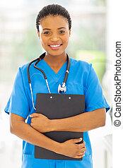 samica, medyczny, clipboard, dzierżawa, afrykanin, pielęgnować