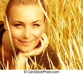 samica, pole, pszenica, piękny