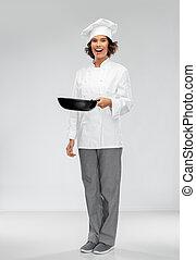samica, rondel, smażenie, tok, uśmiechanie się, mistrz kucharski
