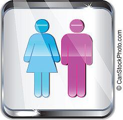 samica, samiec, ikona, szkło