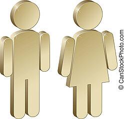 samiec, 3d, samica, metaliczny