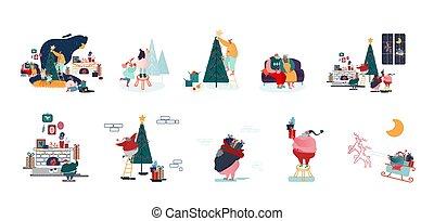 samiec, litery, przygotowywać, dekorować, boże narodzenie, ferie, szczęśliwy, celebrowanie, rok, drzewo jodły, samica, komplet, rodzina, nowy