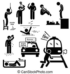 samobójstwo, popełniać, samobójczy, metody