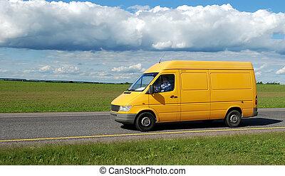 samochód dostawy, żółty