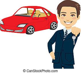 samochód, sprzedawca, młody