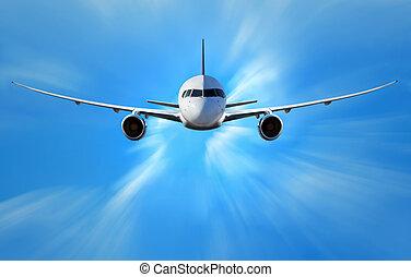samolot, chmury, nad