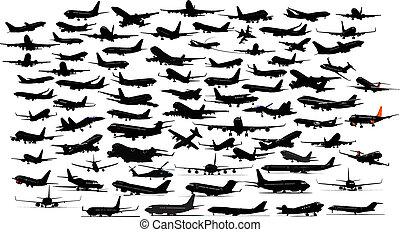 samolot, silhouettes., dziewięćdziesiąt, wektor, illustration.