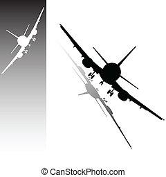 samolot, wektor, czarnoskóry, biały, ilustracja
