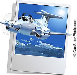 samolot, wektor, rysunek