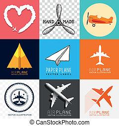 samolot, wektor, zbiór