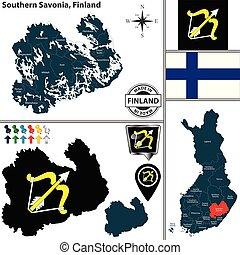 savonia, finlandia, południowy, mapa