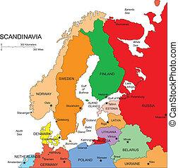 scandanavia, editable, kraje, nazwiska