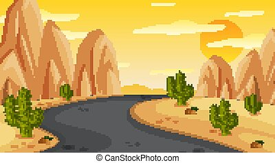 scena, droga, opróżniać, zachód słońca