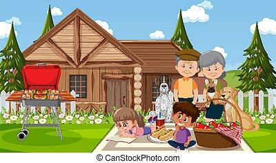 scena, rodzina, posiadanie, na wolnym powietrzu, piknik, szczęśliwy, natura