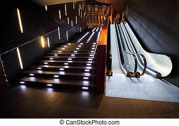 schodek, wewnętrzny, luksusowy, eskalator, nowoczesny, materiały