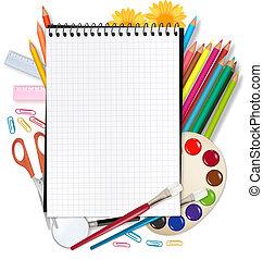school., wstecz, szkoła, notatnik