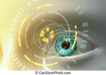 sci-fi, oko, wzór, sztuczny, plastyk