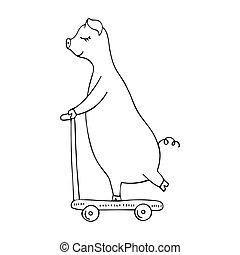 scooter., ilustracja, świnia, hand-drawn, wektor, monochromia, jeżdżenie