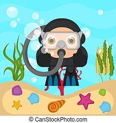 scuba, morze, nurek