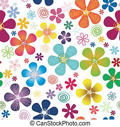 seamless, biały, próbka, kwiatowy