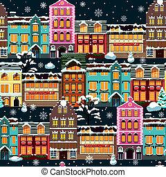 seamless, domy, zima, noc