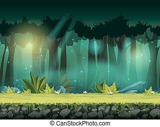 seamless, ilustracja, magiczny, wektor, las, poziomy, mgła