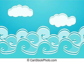seamless, ilustracja, wektor, próbka, morze, fale