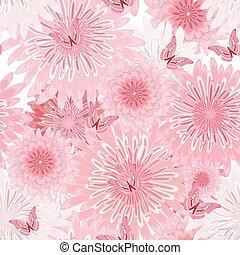 seamless, struktura, flowers., fantazja, kwiatowy, delikatny