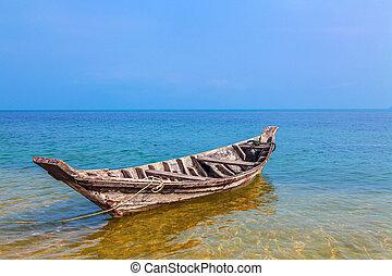 seascape., wędkarski, boat.