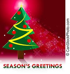 season's, środki, powitanie, ilustracja, powitania, boże narodzenie, 3d