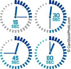 sekundy, zegar, ikony