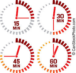 sekundy, -, zegar, piętnaście, ikony