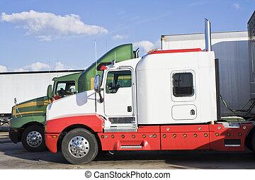 semi-trucks, zaparkował