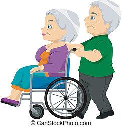 senior, dama, wheelchair, stary, para