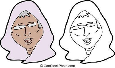 senior, muslim, kobieta