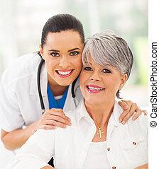 senior, pacjent, pielęgnować, przyjacielski