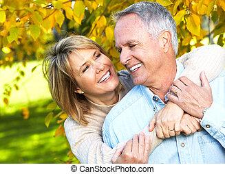 senior, para., szczęśliwy