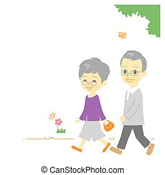 seniorzy, para, park, pieszy
