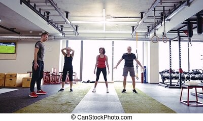 seniorzy, trener, atak, kuca, sala gimnastyczna, ich